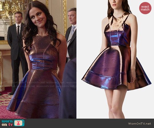 Topshop Metallic Skater Dress worn by Alexandra Park on The Royals