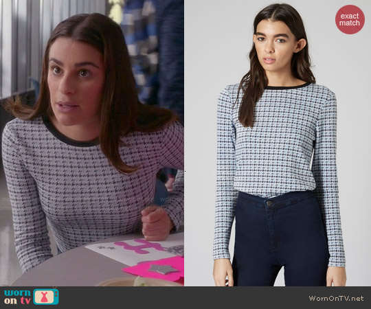 Topshop Mini Houndstooth Long Sleeve Top worn by Lea Michele on Glee