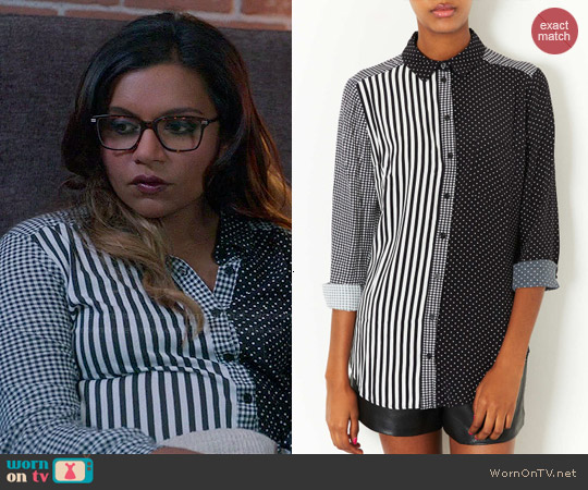 Topshop Mix & Match Print Shirt worn by Mindy Kaling on The Mindy Project