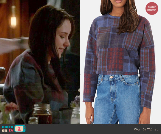 Topshop Mixed Plaid Crop Sweater worn by Haley Ramm on Chasing Life