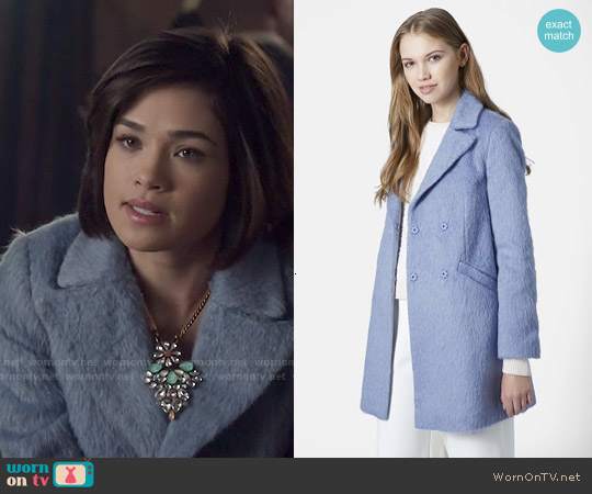 Topshop Molly Coat worn by Nicole Gale Anderson on Beauty & the Beast