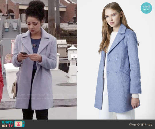Topshop Molly Double Breasted Swing Coat worn by Aisha Dee on Chasing Life