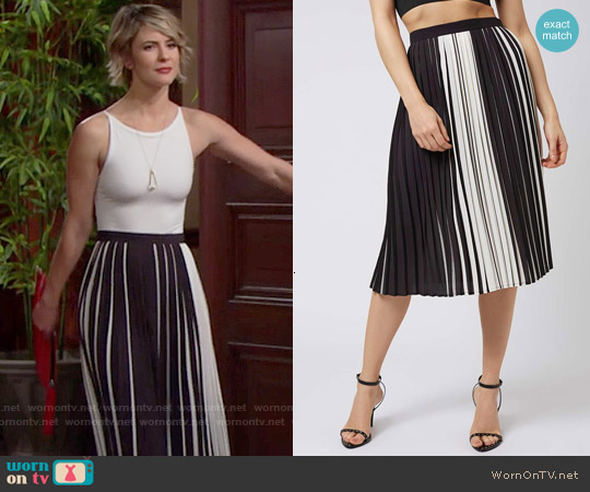 Topshop Monochrome Stripe Pleated Midi Skirt worn by Caroline Spencer on The Bold & the Beautiful
