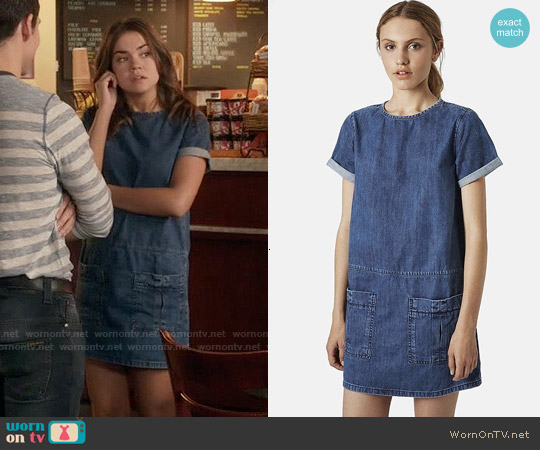 Topshop Moto Denim T-Shirt Dress worn by Maia Mitchell on The Fosters