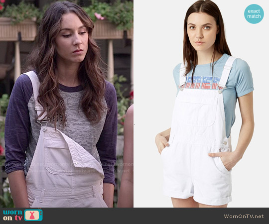 Topshop Moto Dungaree Short Overalls worn by Troian Bellisario on PLL