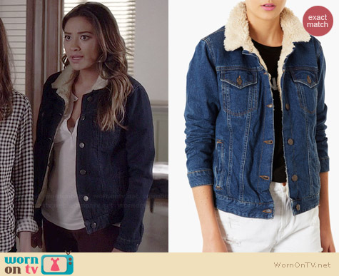 WornOnTV: Emily's denim jacket with white fleece collar on Pretty ...