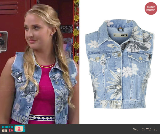 Topshop Moto Floral Sleeveless Jacket worn by Veronica Dunne on KC Undercover