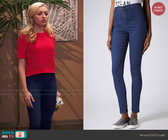 Topshop Moto Blue Gingham Joni Jeans worn by Emma Ross on Jessie