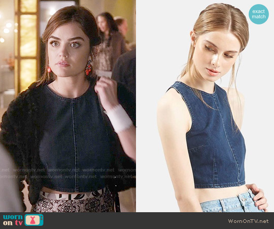 Topshop Moto Zip Back Denim Crop Top worn by Lucy Hale on PLL