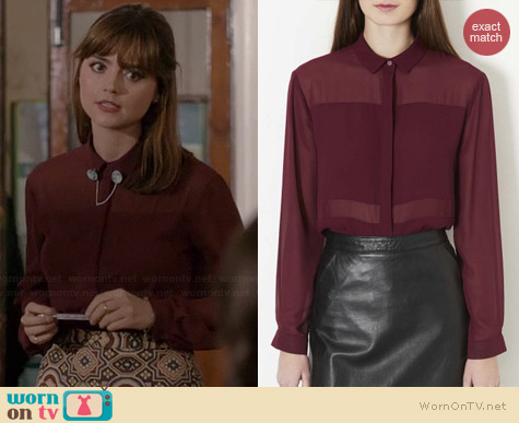 Topshop Multi Panel Shirt in Mulberry worn by Jenna Coleman on Doctor who