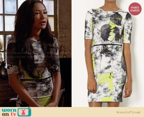 Topshop Neon Scribble Dress worn by Naya Rivera on Glee