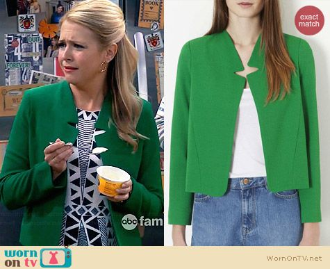 Topshop Green Notch Collar Jacket worn by Melissa Joan Hart on Melissa & Joey