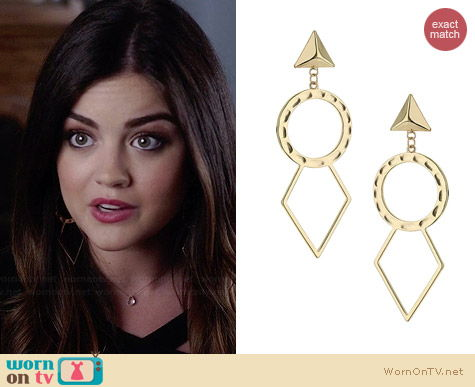Topshop Open Circle and Diamond Earrings worn by Lucy Hale on PLL