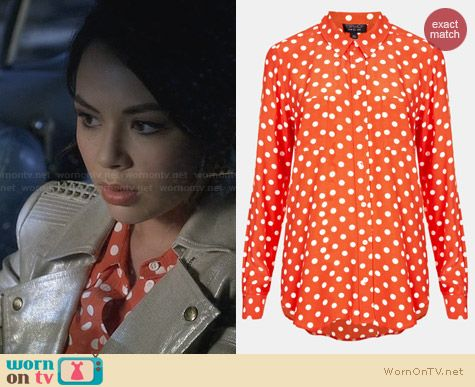 Topshop Orange Polka Dot Shirt worn by Janel Parrish on PLL