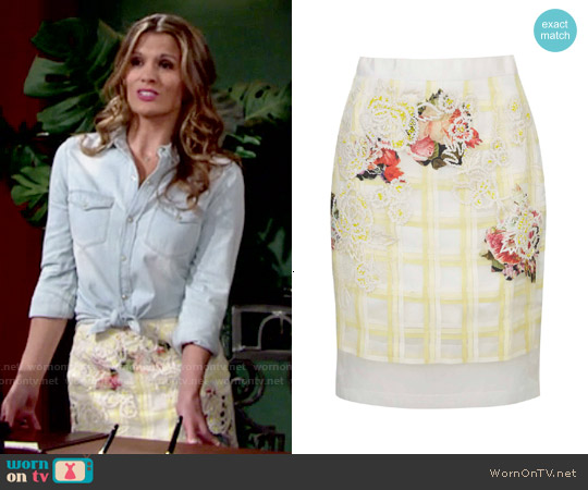 Topshop Organza Check Floral Skirt worn by Melissa Claire Egan on The Young & the Restless