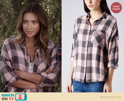 Topshop Oversized Check Shirt worn by Shay Mitchell on PLL