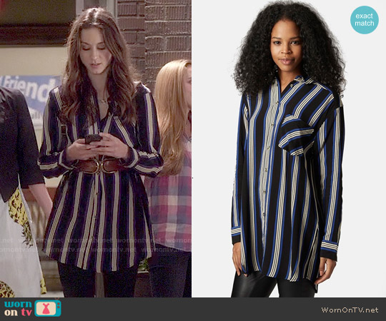 Topshop Oversize Stripe Shirt worn by Troian Bellisario on PLL
