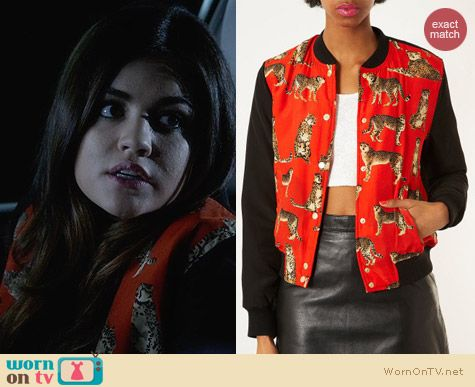 Topshop Padded Leopard Bomber Jacket worn by Lucy Hale on PLL