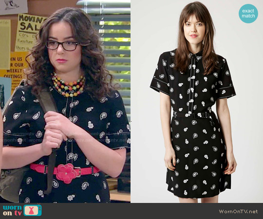 Topshop Paisley Stitch Detail Tea Dress worn by Sarah Gilman on IDDI