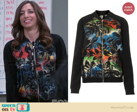 Topshop Palm Jacquard Bomber Jacket worn by Chelsea Peretti on Brooklyn 99
