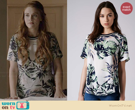 Topshop Palm Leaf Tee worn by Holland Roden on Teen Wolf