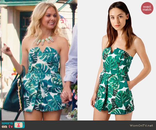 Topshop Palm Printed Notched Neck Romper worn by Laura Bell Bundy on Hart of Dixie