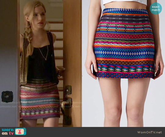 Topshop Patterned Blanket A-Line Skirt worn by Willa Fitzgerald on Scream