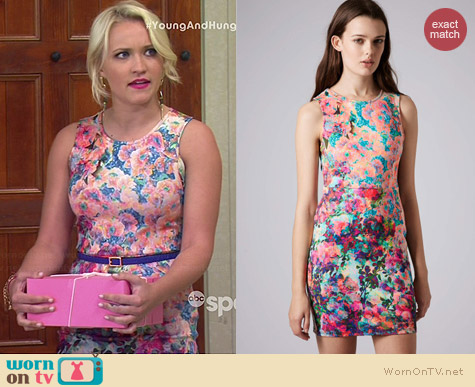 Topshop Photo Print Column Dress worn by Emily Osment on Young & Hungry