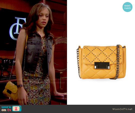 Topshop Pin Stud Crossbody Bag worn by Nicole Avant on The Bold & the Beautiful