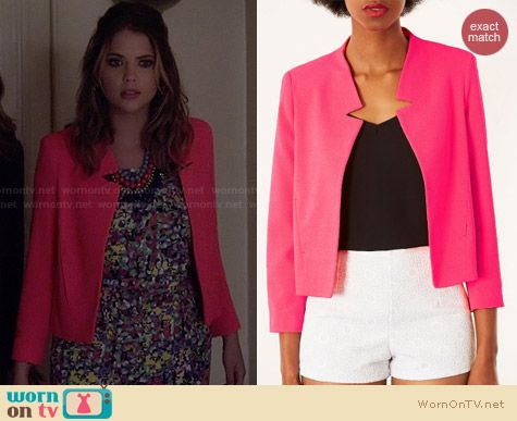 Topshop Pink Notch Neck Jacket worn by Ashley Benson on PLL