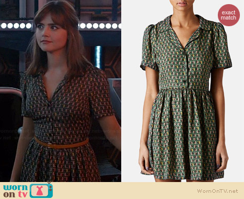 Topshop Piped Tile Print Shirtdress worn by Jenna Coleman on Doctor Who