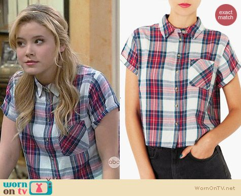Topshop Plaid Crop Shirt worn by Taylor Spreitler on Melissa & Joey