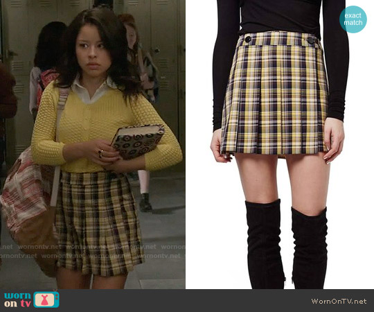 Topshop Plaid Kilt Miniskirt worn by Cierra Ramirez on The Fosters