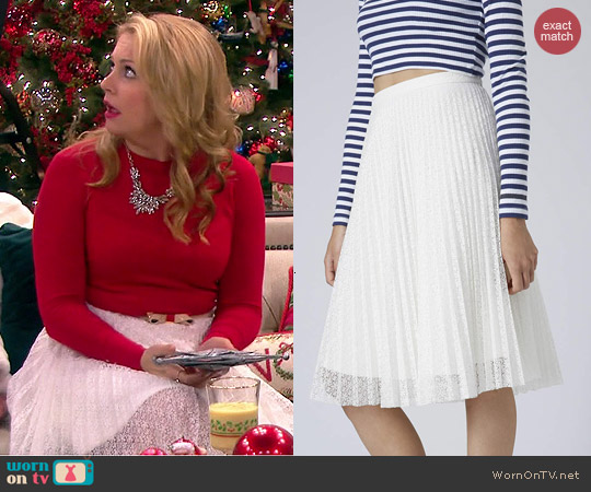 Topshop Pleated Lace Midi Skirt worn by Melissa Joan Hart on Melissa & Joey