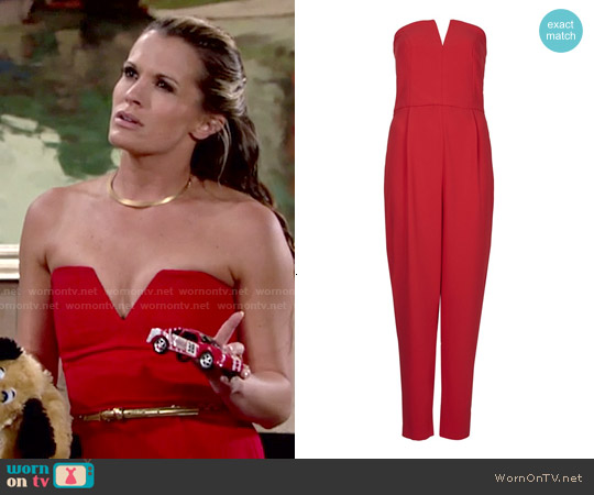 Topshop Plunge Bandeau Jumpsuit worn by Melissa Claire Egan on The Young & the Restless