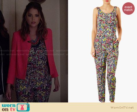 Topshop Pop Floral Jumpsuit worn by Ashley Benson on PLL
