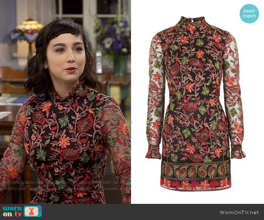 Topshop Embroidered Frill Dress worn by  Molly Ephraim on Last Man Standing