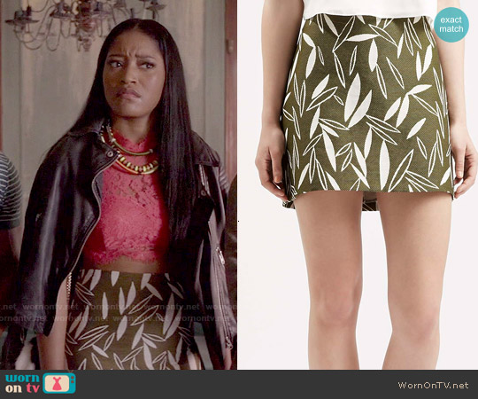 Topshop Premium A-Line Jacquard Skirt worn by Zayday Williams on Scream Queens