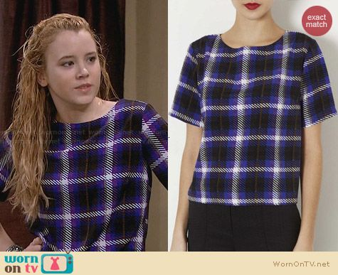 Topshop Purple Check Tee worn by Taylor Sprietler on Melissa & Joey