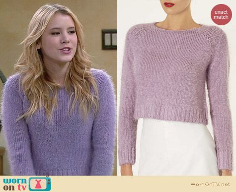 Topshop Purple Fluffy Knit Crop Jumper worn by Taylor Sprietler on Melissa & Joey
