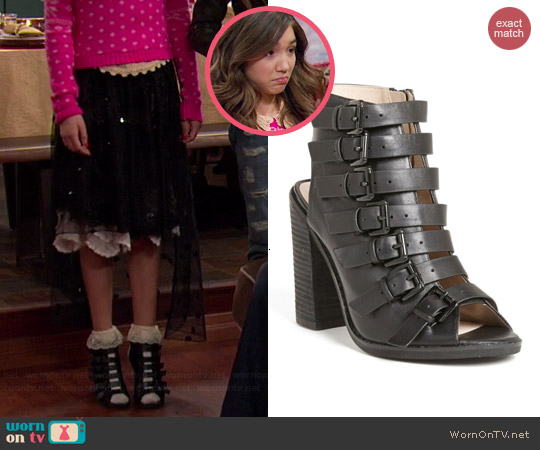 Topshop Ragged Multi Buckle Bootie worn by Rowan Blanchard on Girl Meets World