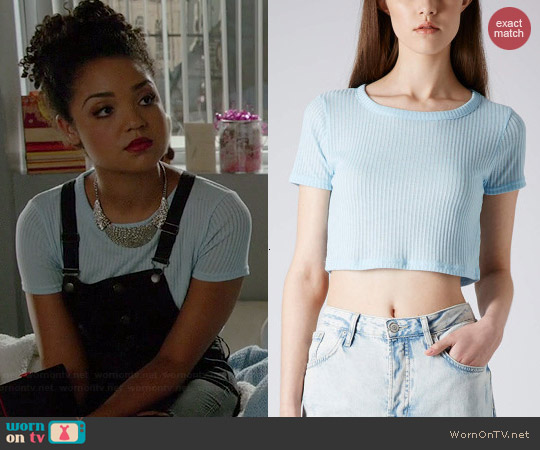Topshop Rib Crop Tee worn by Aisha Dee on Chasing Life