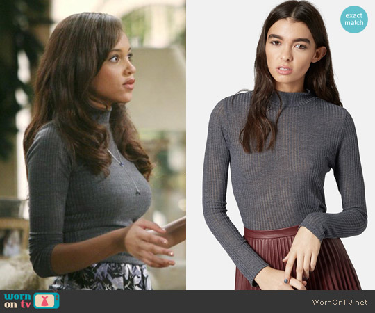 Topshop Rib Knit Funnel Neck Top worn by Reign Edwards on The Bold & the Beautiful