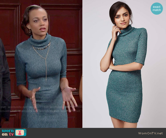 Topshop Rib Roll Neck Dress worn by Reign Edwards on The Bold & the Beautiful