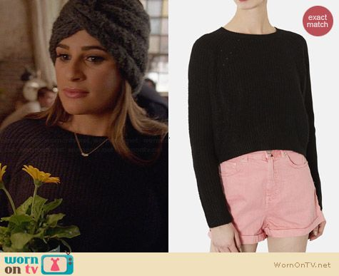 Topshop Ribbed Crop Sweater worn by Lea Michele on Glee