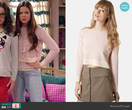 Topshop Ribbed Crop Sweater in Light Pink worn by Piper Curda on IDDI