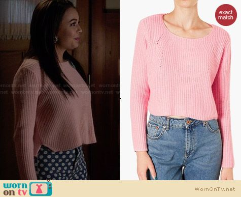 Topshop Ribbed Crop Sweater in Pink worn by Janel Parrish on PLL