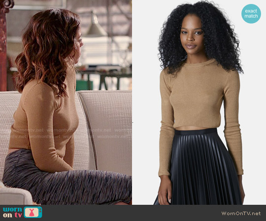 Topshop Ribbed Crop Sweater in Camel worn by Ana Ortiz on Devious Maids