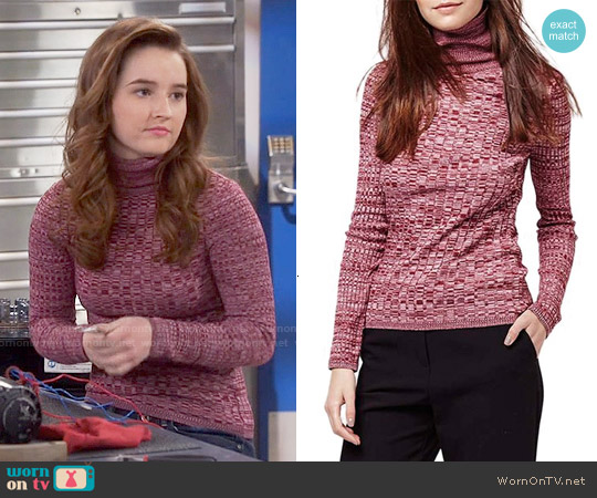 Topshop Ribbed Turtleneck Sweater in Dark Pink worn by Kaitlyn Dever on Last Man Standing