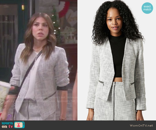 Topshop Rosie Boucle Jacket worn by Kate Mansi on Days of our Lives